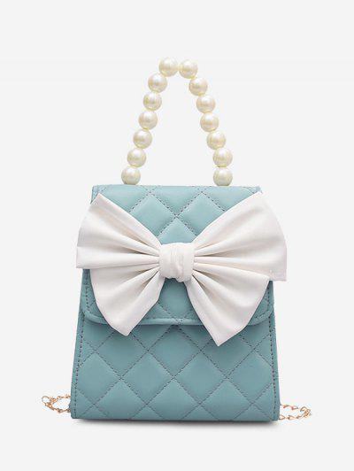 Quilted Bowknot Faux Pearl Handle Chain Crossbody Bag - Blue
