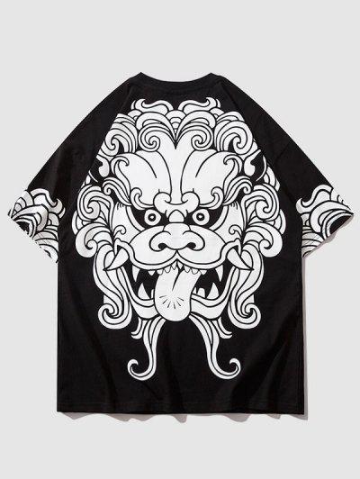 Kurzärmliges T-Shirt Mit Tribaldruck - Schwarz M