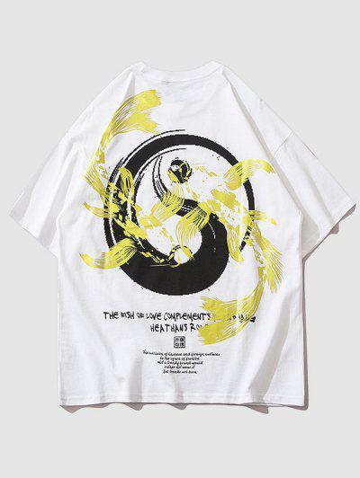 Yin- Und Yang-Metallgrafik-orientalisches T-Shirt - Weiß M
