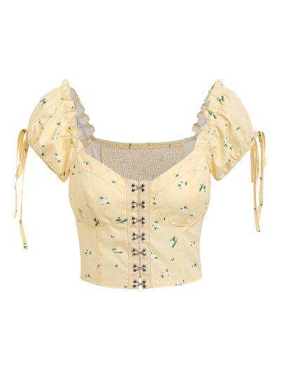 ZAFUL Hook And Eye Ditsy Print Puff Sleeve Cropped Blouse - Light Yellow S