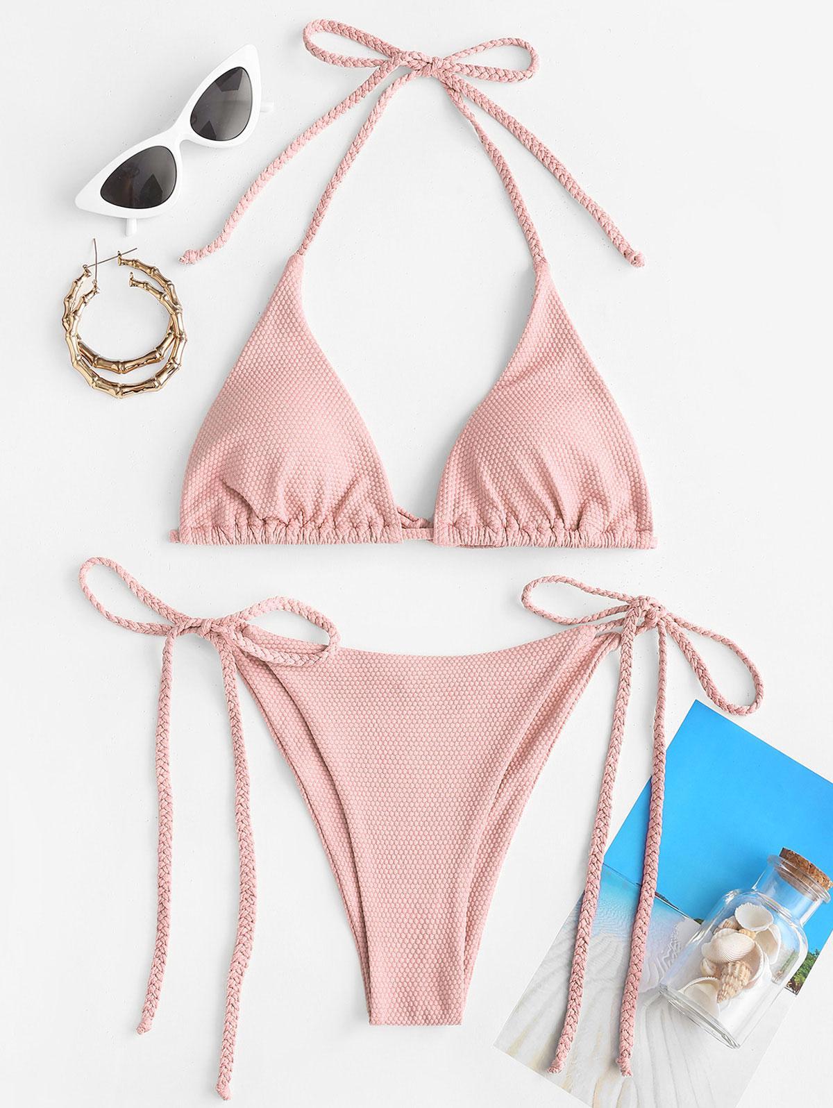 ZAFUL Braided Textured Tie Side Bikini Swimwear