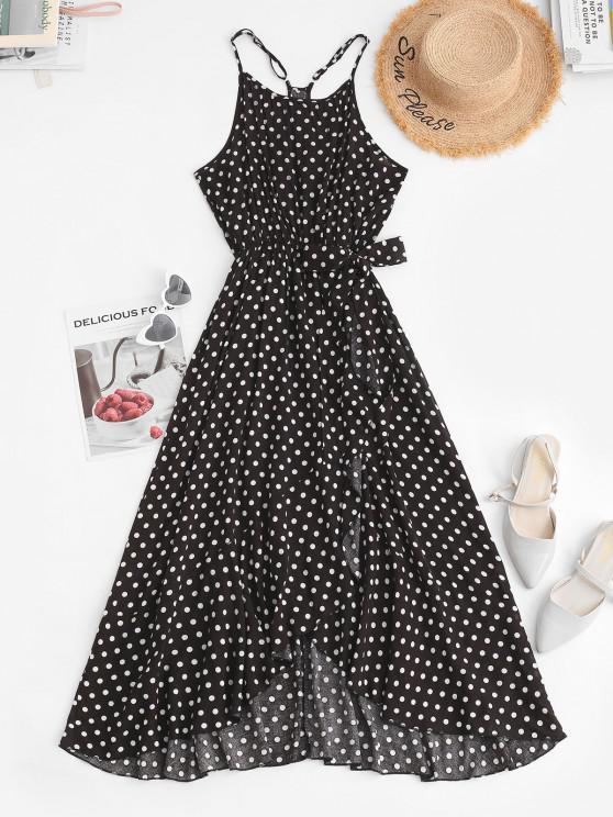 Robe Mi-Longue Taille Nouée à Volants à Pois - Noir L