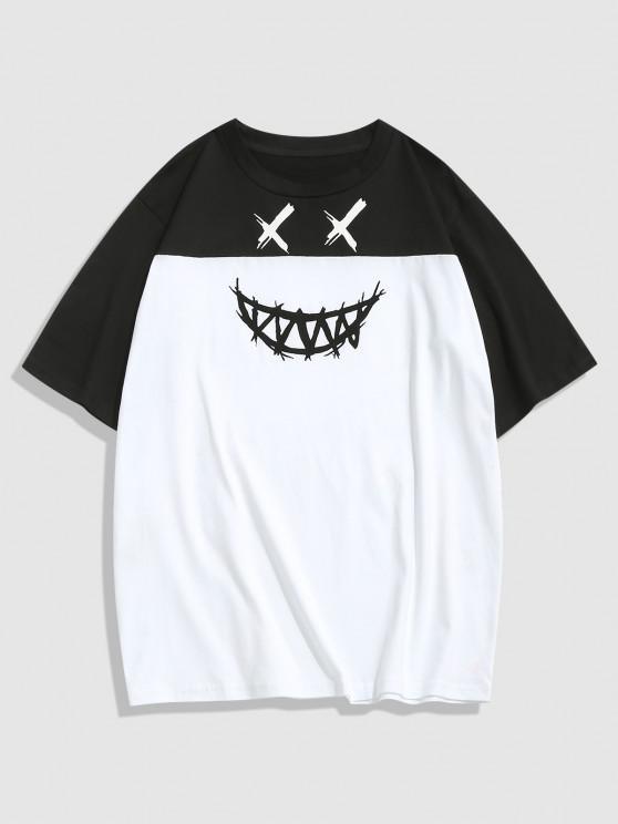ZAFUL Cartoon Face Print Contrast T-shirt - أسود XL