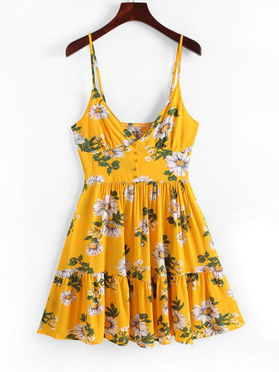 outfit Smocked Flower Flounce Cami Sundress - YELLOW M