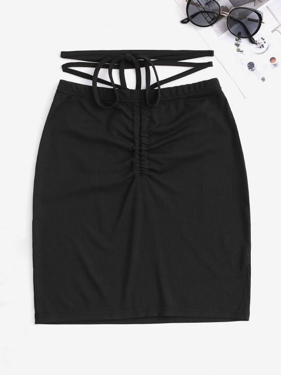 trendy Ribbed Cinched Cross Bodycon Mini Skirt - BLACK S