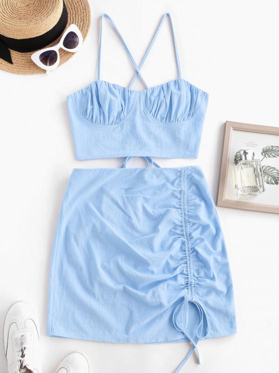 ZAFUL Robe Croisée à Lacets Deux Pièces à Volants - Bleu clair S