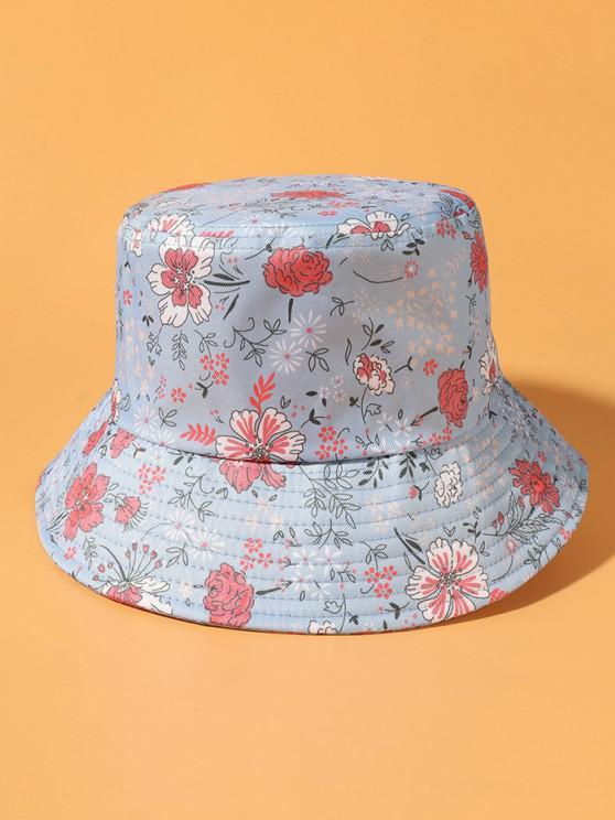 Flowers Printing Bucket Hat - أزرق فاتح