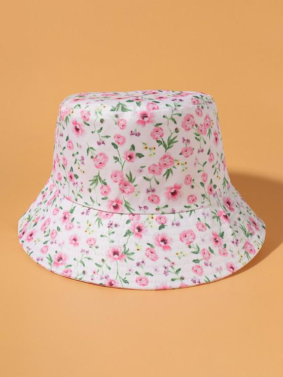 Tiny Flower Print Bucket Hat - أبيض