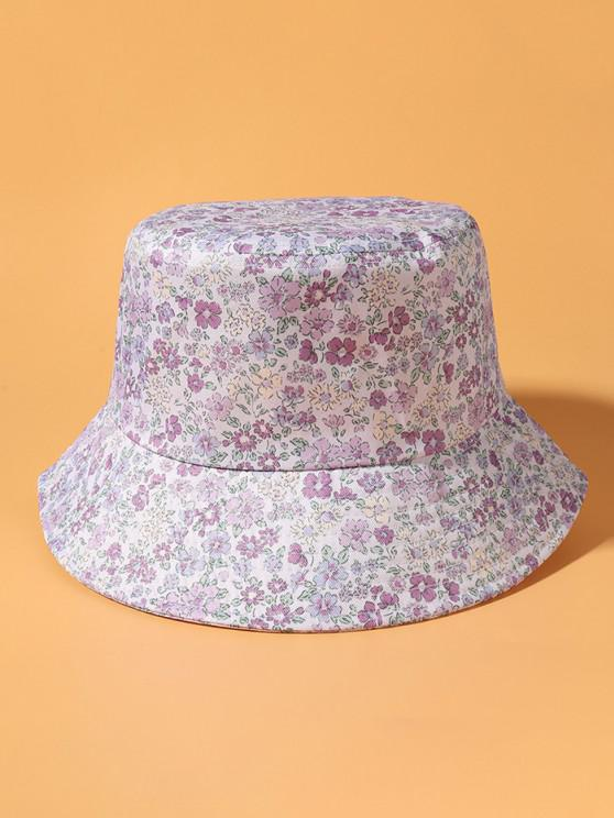Tiny Floral Print Bucket Hat - ضوء ارجواني