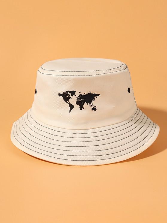 sale World Map Printing Bucket Hat - BEIGE