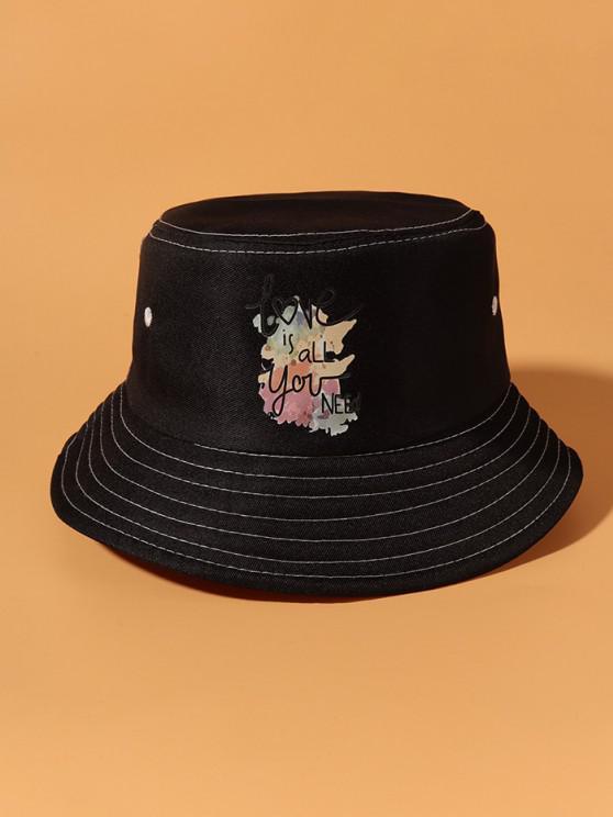 Slogan Colorful Printed Bucket Hat - أسود