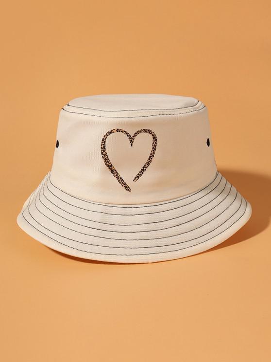 Leopard Heart Print Bucket Hat - اللون البيج