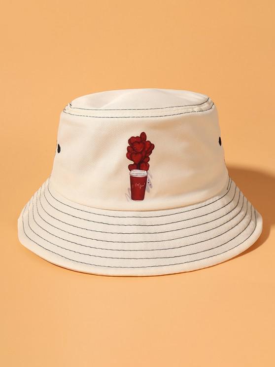 Gedruckter Blatt Herz Bucket Hut - Beige