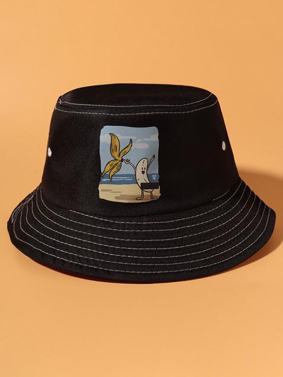 women's Striping Banana Print Bucket Hat - BLACK