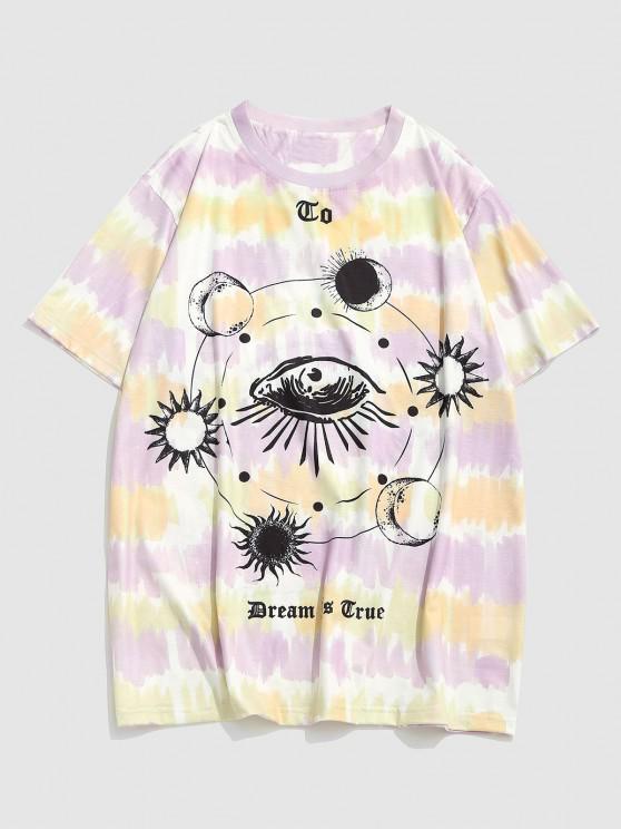 Dream Is True Eye Celestial Sun And Moon Tie Dye T-shirt - شقراء XXL