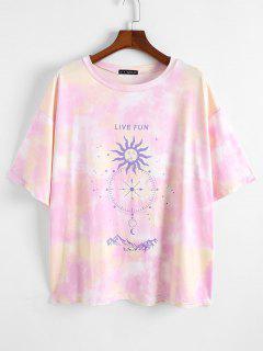 ZAFUL T-shirt Teinté Soleil Imprimé Grande Taille - Rose Clair L