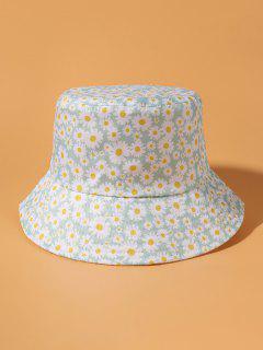 Flower Daisy Printing Bucket Hat - Light Cyan