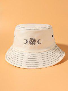 Sun And Moon Print Bucket Hat - Beige