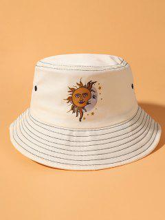 Cappello Da Pescatore A Secchio Con Stampa A Sole E Luna Stile Bohemian - Beige