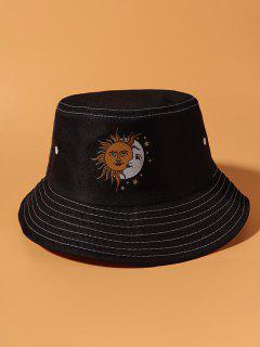 Sun Moon Print Bohemian Bucket Hat - Black