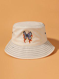 Flame Butterfly Print Bucket Hat - Beige