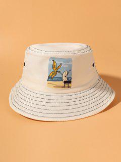Sombrero De Cubo Cubo Estampado Plátano Rayado - Beige