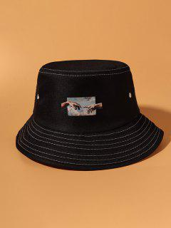 Sombrero De Cubo Con Estampados De Manos - Negro