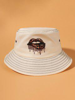 Sombrero De Cubo Cubo Estampado Labios Leopardo - Beige
