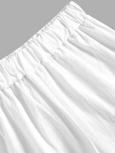 outfit Layer Flounce Cotton Pull On Shorts - WHITE M Mobile