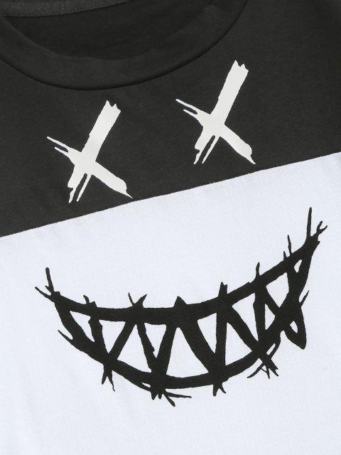 buy ZAFUL Cartoon Face Print Contrast T-shirt - BLACK L Mobile