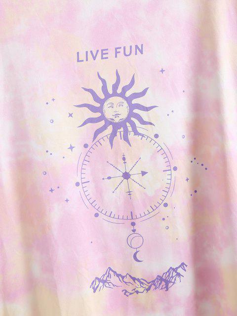 ZAFUL Camiseta Talla Grande de Tie-dye con Camiseta de Tie-dye - Rosa claro 3XL Mobile