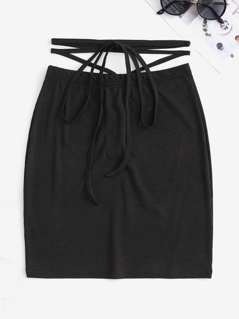 trendy Ribbed Cinched Cross Bodycon Mini Skirt - BLACK S Mobile