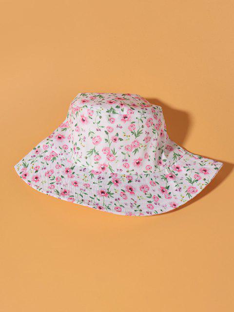 Winzige Blumendruck Bucket Hut - Weiß  Mobile