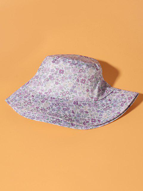 Winziger Blumendruck-Eimer-Hut - Helles Lila  Mobile