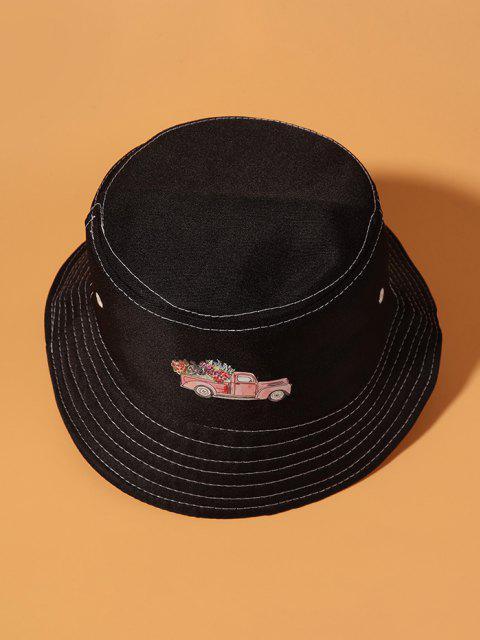 Vergewaltigung Blume Gedruckte Bucket Hut - Schwarz  Mobile