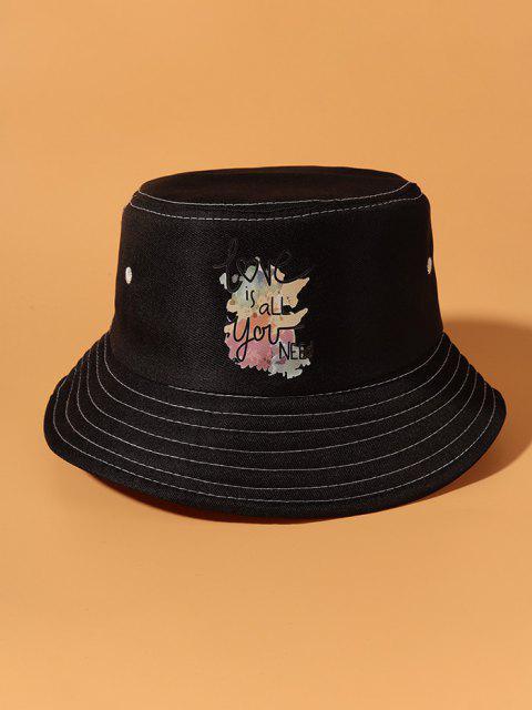 Slogan Bunte Gedruckte Bucket Hut - Schwarz  Mobile