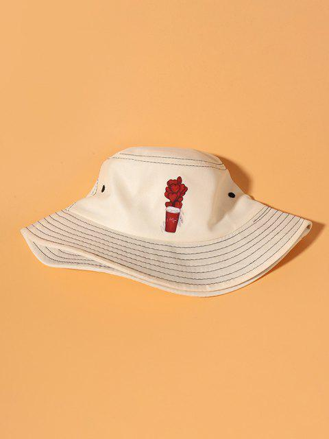 Gedruckter Blatt Herz Bucket Hut - Beige  Mobile