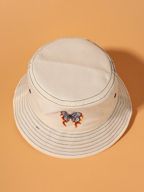 Flammen Schmetterlingdruck Bucket Hut - Beige  Mobile