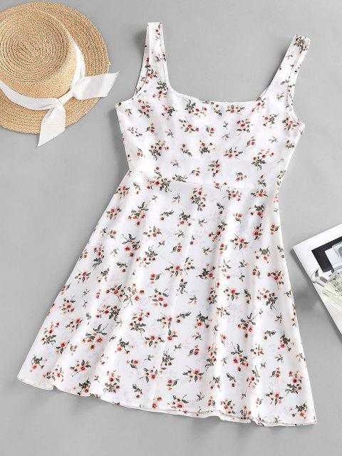 ZAFUL Blumen Geraffte Frauen Empire Taille Kleid - Weiß L Mobile