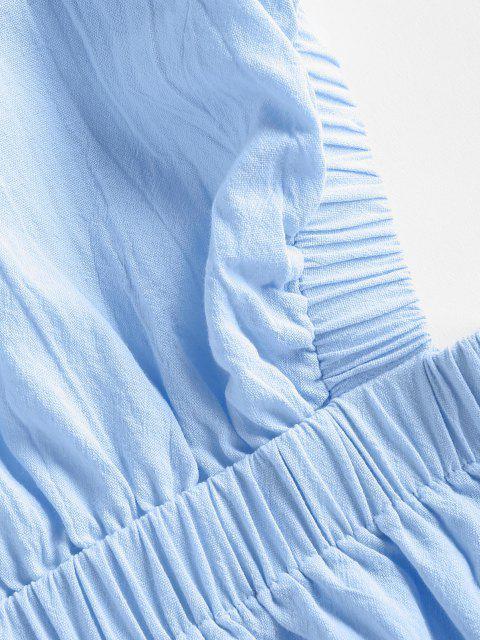 ZAFUL Kreuzes und Queres Rückenfrei Minikleid - Hellblau S Mobile