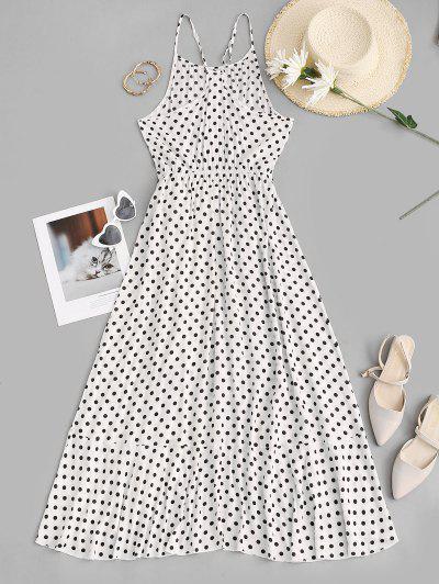 Polka Dot Ruffles Tie Waist Midi Dress - White L