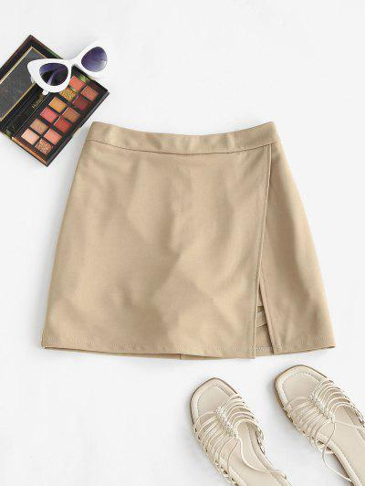 Slit Skirt With Shorts Underneath - Coffee M
