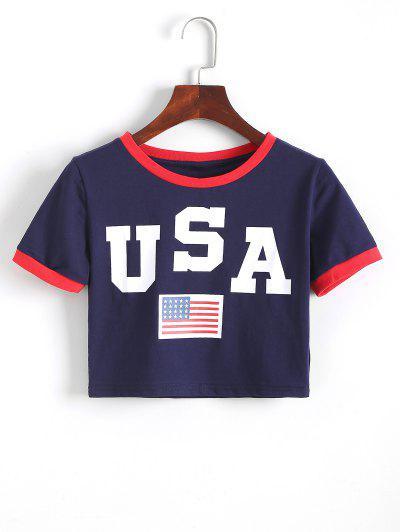 American Flag Ringer Slim Crop Tee - Deep Blue S