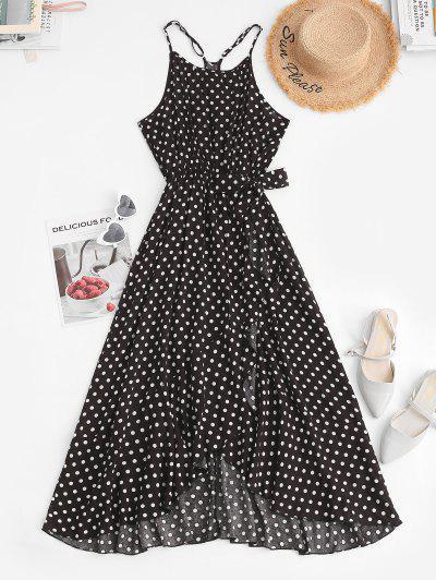 Gebundenes Tupfen Rüschen Taille Midi Kleid - Schwarz S