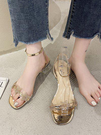 Glitter Stars Transparent Heel Sandals - Golden Eu 37