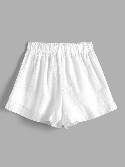 Layer Flounce Cotton Pull On Shorts - White S