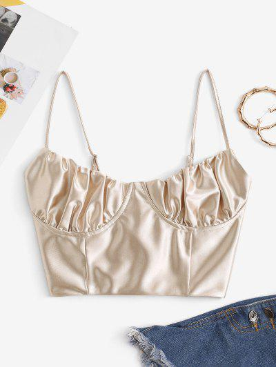 Lace Up Silky Bustier Corset Style Top - Light Coffee M