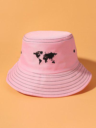 World Map Printing Bucket Hat - Pink