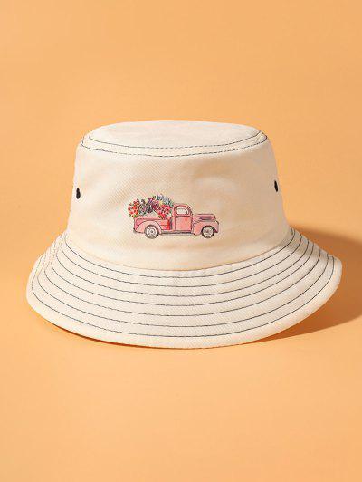 Truck Flower Printed Bucket Hat - Beige
