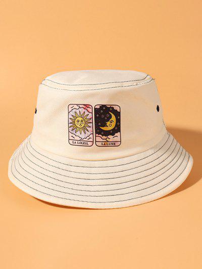 Print Sun And Moon Bucket Hat - Beige